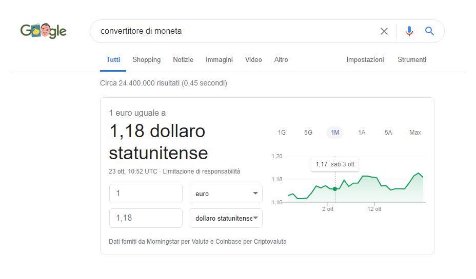 Google convertitore di moneta