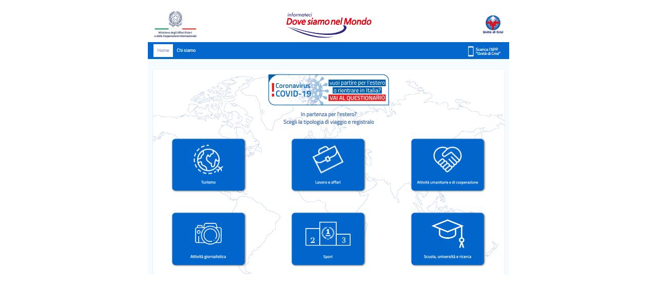 Sito web dell'unità di crisi del Ministero degli Esteri