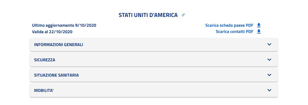 La scheda del paese con la possibilità di scaricarla in PDF