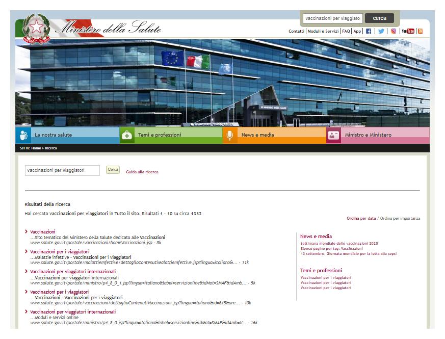 Sito web del Ministero della Salute alla pagina dei risultati: 'vaccinazioni per viaggiatori'